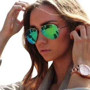 Ray-Ban 58mm Aviator Sunglasses in Green Flash